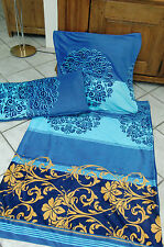 "Microfaser Nicky Soft Bettwäsche blau/royal ""Ornamente"" 3-tlg.)  135x200 Neu !"