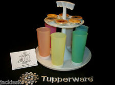 Tupperware WHITE vtg Carousel Caddy with 16oz PASTEL Straight Side Tumblers +++