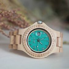 Luna Wooden Watch with date function Turquoise