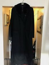 Versus by Gianni Versace Black DRESS  COAT Faux Fur collar SZ 42 Vintage