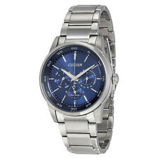 Citizen Eco-Drive Multi-Function Blue Dial stainless Steel Mens Watch BU2010-57L