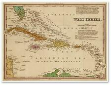 Tanner's Elegant Color MAP of Old WEST INDIES - CARIBBEAN ISLANDS circa 1844