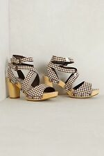 ANTHROPOLOGIE Gingham Clogs Heels Sz 9 Brown by Marais Patent Leather NIB NEW
