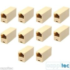 PACK OF 10 RJ45 NETWORK CABLE COUPLERS, FEMALE TO FEMALE FOR CAT5e CONNECTORS