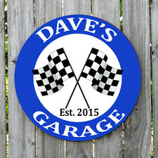 PERSONALIZED ROUND CHECKER FLAG GARAGE METAL SIGN