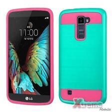 XM-For LG K10/L62VL(PREMIER LTE) Brushed Texture Teal/Hot Pink Hybrid Case Cover