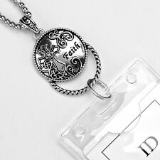 Cross Faith ID Badge Name Tag Key Card Holder Necklace Lanyard Mothers Day Gift
