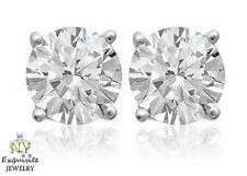 CERTIFIED 1.00ct 1ct ONE CARAT ROUND-CUT F/VS2 DIAMONDS 14K GOLD STUD EARRINGS