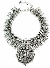 Zara Statement Silver Necklace With Rhinestones