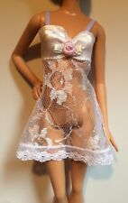 Barbie Doll Clothes Lingerie WHITE LACE CAMISOLE NEGLIGEE Teddy Underwear