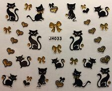 Nail Art 3D Decal Stickers Cat Kitten Hearts Bows JH033