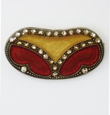 Vintage PIERRE BEX Art Deco RHINESTONE Enamel GOLD & RED Brooch Pin