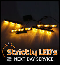4x LED FLASHING STROBE RECOVERY GRILL LIGHTS AMBER GRILL WARNING HEAD STROBE VAN