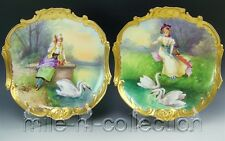 PAIR OF LIMOGES HAND PAINTED LADY PORTRAITS & SWANS CHARGER PLAQUE SIGNED DUBOIS