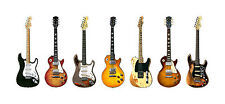 Blues-Rock Guitar Panorama Print. 7 Famous Blues-Rock Guitars