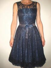 NEW VINTAGE 50'S STYLE DARK BLUE FLORAL MESHED ROCKABILLY PARTY DRESS SIZE 10