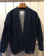 Visvim Sanjuro Kimono Indigo Denim Jacket Coat Size 2 Medium Hand Stitched