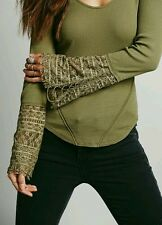 NEW!! Free People JULIET Cuff Thermal Long Sleeve Top. Size XS