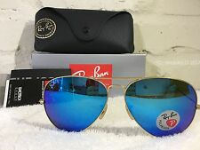 RAY BAN Aviator Sunglasses Gold Frame RB 3025  POLARIZED Blue Mirror Flash 58mm