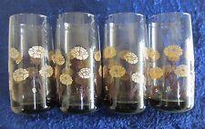 Four Smokey Brown Vintage Tumbler Glasses with Flower Design - 1970s