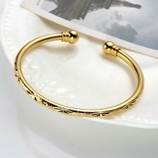 Womens Charms 18k Yellow Gold Filled Open Bangle Bracelet Fashion Jewelry Gift
