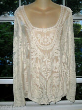 New Victorian Romantic Embroidered Lace Blouse AnThRoPoLoGiE  XL~ 44BusT