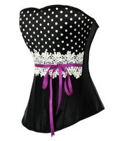 Ladies Gorgeous Sexy Black Polka Dot Lace Victorian Gothic Corset Bustier #256