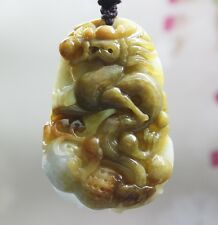 Certified Natural (Grade A) Multi-Color Jadeite Jade Carved Dragon Pendant 生意興隆
