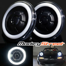 "7"" ROUND BLACK GLASS SEMI-SEALED HALO RETROFIT TRUE PROJECTOR HEADLIGHTS LAMPS"
