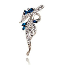 Elegant Silver and Ink Blue Bow Corsage Bridal Brooch Pin BR208