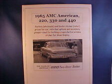 1965 AMC American factory cost/dealer sticker prices $$$$ for car + options $$$$