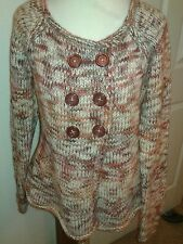 Sleeping on Snow Ladies Double Breasted Button Wool Blend Sweater Rust/Cream L