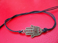KARMASTRING black cotton tie-on bracelet  anklet  bronze hamsa hand of fatima