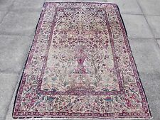 Antique Traditional Persian Rug Wool Cream Hand made Animal Scene Rug 202x140cm
