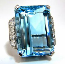"GIA Certified 40.14ct Natural ""Blue"" Aquamarine diamonds ring 18kt Vivid"