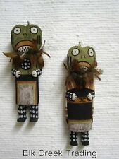 Native American Old Style HOPI Carved Traditional Rain Frogs Katsina Dolls PAIR