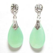 20X12mm Natural Green Jade 925 Silver Good Fortune Post Earrings