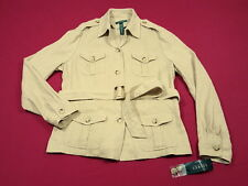 NWT Ralph Lauren Casablanca Linen/Silk Tan/Gold Shimmer Belted Jacket 14 $260