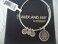 Alex and Ani Initial R Charm Bangle Bracelet Russian Silver New W/Tag Card & Box