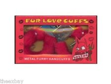 Furry Sexy Love Cuffs Red Fur Lined Hand Handcuffs