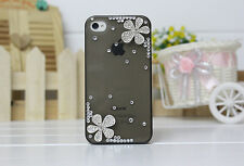 Kolorfish Premium Designer Elegant Back Case For iPhone4 4S DIAMOND FLOWER-BLACK