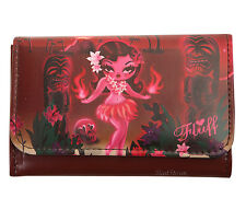 NEW Fluff Hawaii Island RED HULA Girl EXOTICA Accordion Flap Wallet Barjoud