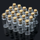 16x35mm Wholesale Lot 20 Pcs Tiny Mini Empty Clear Cork Glass Bottles Vials 2ml