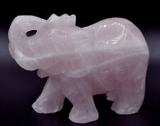 Popular crystal skull ! Large Carved rose quartz Crystal Gem Stone elephant reik