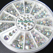4 Sizes Nail Art Tips Crystal Glitter Rhinestone Decoration+Wheel #056R