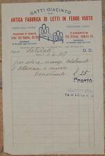 FATTURA GATTI GIACINTO FABBRICA DI LETTI IN FERRO VUOTO 1907 DIVANO OTTOMANA