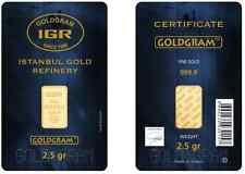 2.5 gram Istanbul Gold Refinery (IGR) Bar .9999 Fine (In Original Assay Card)