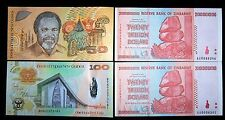 4 banknote set-2 x Zimbabwe 20 trillion+Papua New Guinea 50+100 Kina- currency