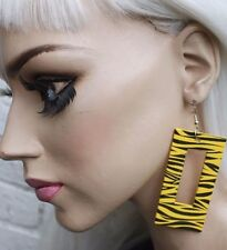 ZEBRA YELLOW WOODEN TRASHY PUNK PASTEL GOTH ALT CLUBWEAR HIPSTER PARTY EARRINGS