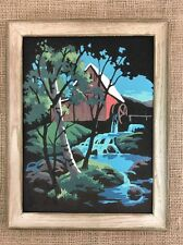 Vintage Framed Paint by Number Painting of Mill & Waterwheel on River on Velvet